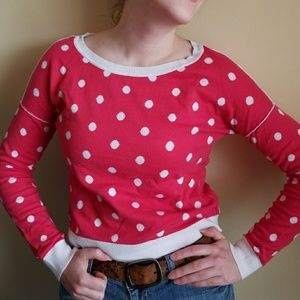Pink Sweater with White Polka Dots